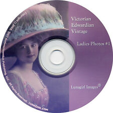 CD #1 VICTORIAN Edwardian Vintage LADIES PHOTOS images women flappers hats cards