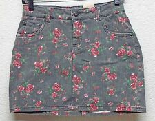 Teen Girls Denim Skirt Arizona Stretch Floral Multi-Color Pantie Liner Size 14