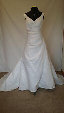 Michaelangelo David's Bridal White Sleeveless V-Neck Beaded Wedding Dress