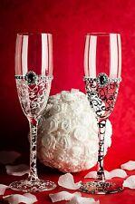 Pintado a Mano Boda Novia y el novio Champagne Flutes Gafas