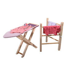 New Childrens Role Play Wooden Clothes Airer & Wooden Ironing Board Set