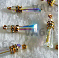 8p Crystal Prism Pagoda Angel Crystal AB Teardrop Charms Wedding Scarf Ends