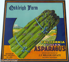 CRATE LABEL ASPARAGUS VINTAGE 1940S OAKLEIGH FARMS RIO VISTA WILCOX ORIGINAL
