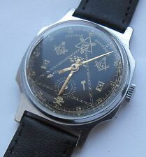 USSR. SOVIET. Interesting wristwatch ZIM . Masonic signs. Wristlet. Black dial.
