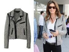 RAG BONE Hart boucle tweed leather trim biker jacket XS