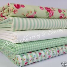 5 FQ pastel green cottage roses  100% cotton 20 x 22inches craft/ patchwork