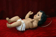 Rare Baby Jesus Statue Figurine With Glass Eyes & Long eyelashes 9""