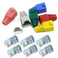50PC CAT5 RJ45 Ends Plug  + Boot Crimp Plugs Cable Connectors LAN
