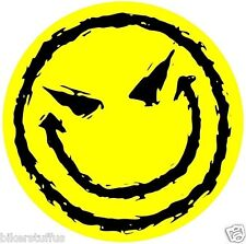 EVIL SMILEY FACE BUMPER STICKER YELLOW