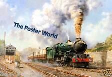 Pintura al óleo de tren de vapor Locomotora Imagen Cartel Art Print/pared decoración de hogar