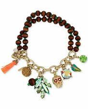 "Betsey Johnson ""Calypso Betsey"" Skull Charm Wood Beaded Half Stretch Bracelet"