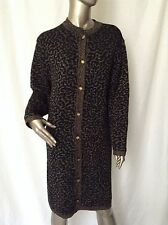 RODIER Black & Gold Long Torso Button Down Cardigan Sweater 42 6