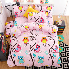 Home Decor Kid King Size Bedding Set Pillowcase Quilt Duvet Cover Pink Owls #K