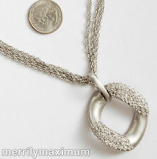 Chico's Signed Platinum Silver Tone Chains Crystal Pave Pendant Necklace