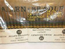 25  Allen Bradley Carbon Comp Resistors RCR  750 ohm 2 watt 5%
