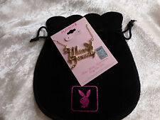 Playboy Gold Plated Miss January Necklace Garnet Crystal Bunny Eye & Gift Bag