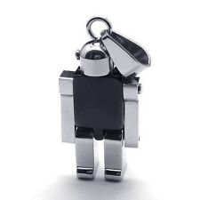 Silver Black Stainless Steel The Robot Pendant With Necklace Sp89 USA Seller