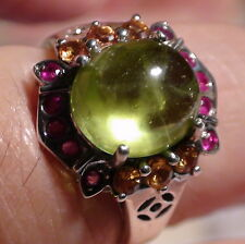Natural Peridot 10.00ct,Ruby,Sapphire 925 Silver,Vintage Estate Jewelry,Sz 7.75