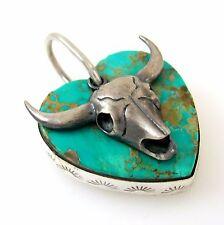 Southwestern Sterling Silver Turquoise Heart Steer Skull Pendant DAN DODSON  RS