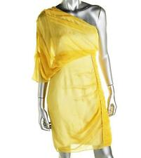 CATHERINE MALANDRINO ~ NEW $798 YELLOW SILK ONE SHOULDER ROUCHED DRESS SZ 4 NWT