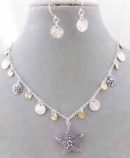Starfish Necklace Set Silver Gold Disks Fashion Jewelry New