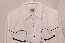 Ely Cattleman  Size L Long Sleeve Snap Front Western Shirt Square Snaps