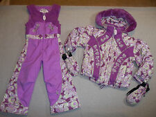OBERMEYER SKI SNOW SUIT JACKET FUR HOOD SET PANTS BIBS MITTENS OUTFIT GIRL'S 4