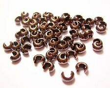 CRIMP BEAD COVERS 36 PCS. 3 MM ANTIQUE GENUINE SOLID COPPER