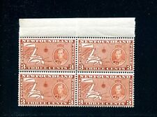 LOT 50069 MINT NH 234 DIE 1 BLOCK OF 4 : NEWFOUNDLAND MAP LONG CORONATION ISSUE