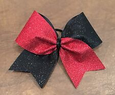 Cheer Bow  Cheerbow Cheerleading Ribbon Bows Black and Red Glitter