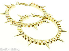 "Gothic Punk Rock Gold Spike Bling Hoop Earrings - 2 1/4"" Hoops"