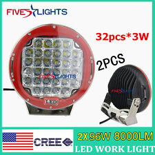 2PCS Red Round 9IN 96W Cree Led Driving Spot Work Light 4WD Offroad SUV ATV BOAT