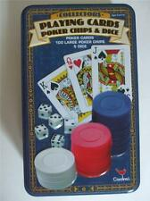 Playing Cards Poker Chips & Dice in Blue Collectors Tin Cardinal