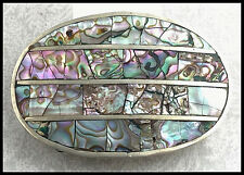 VINTAGE - Alpaca Silver & Abalone Shell - Decorative Oval Belt Buckle - Mexico