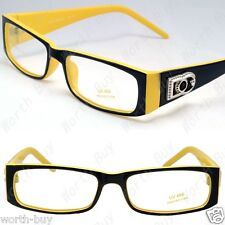 DG Eyewear Clear Lens Rectangular Frames Glasses Fashion Designer Black Yellow