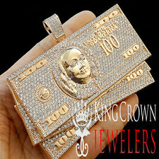 BIG JUMBO CUSTOM PIECE PENDANT ROSE GOLD LAB DIAMOND CASH $100 BILLS MONEY CHARM