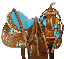 "14"" 15"" 16"" WESTERN HORSE BARREL RACER LEATHER PLEASURE TRAIL SHOW SADDLE"