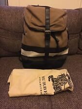 BURBERRY  Trim Plaid Check Backpack Canvas Leather Large