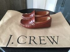 NEW J CREW CREWCUTS $98 KIDS LEATHER DRIVING MOCS T10 SHOES LIGHT BROWN  LOAFER