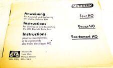 Märklin Mode d'emploi/instructions pour Connexion et Opération Trains 800 YNN
