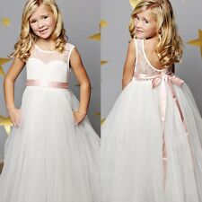 Lace Sleeveless Princess Bridesmaid Wedding Party Prom Pageant Flower Girl Dress