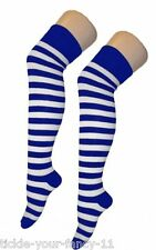 Ladies Teens Blue & White Stripe Sailor Themed Over The Knee Socks Football Kit
