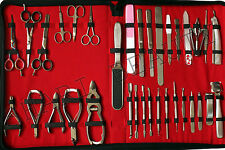 new34 PCS FULL RANGE GERMAN STAINLESS STEEL MANICURE AND PEDICURE TOOL SET/KIT: