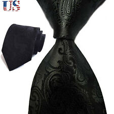 Hot US Classic New JACQUARD WOVEN Men's Tie Necktie Xmas Gift Black Chic