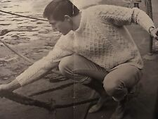 Vintage Knitting Pattern For Men's Aran Jumper - Chest 38-42""