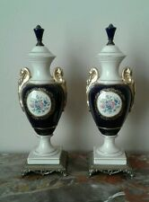 Pair Cobalt Blue Cameo Porcelain and Metal Urn Vintage Sevres Style