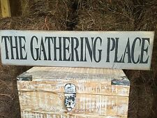 "Large Rustic Wood Sign - ""The Gathering Place"" - Fixer Upper, Rustic Weathered"