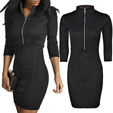 Womens Ladies Front Zip Polo Turtle Neck Ribbed Bodycon Mini Dress 3/4 Sleeve