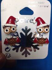 One Pair Of Claire's Owl Christmas Themed Front And Back Earrings New