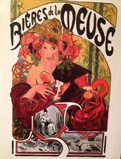 """DAVID ALDUS ORIGINAL """"Bières de la Meuse"""" Art Nouveau French beer OIL PAINTING"""